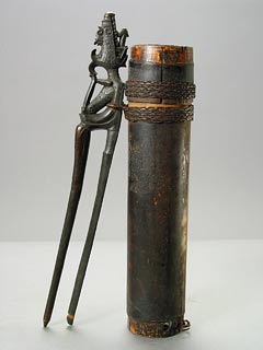 Wooden Quiver with Poison Blowdarts