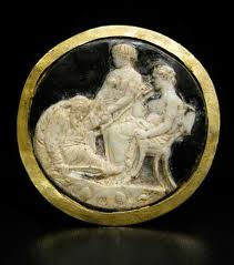 Roman Glass Cameo Pendant (Priam and Achilles)