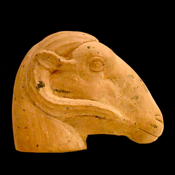 26th Dynasty Terracotta Sculpture of a Ram Head