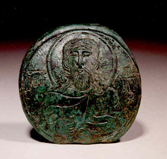 Byzantine Bronze Medallion with a Bust of John the Baptist