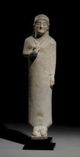 Cypriot Limestone Sculpture of a Priestess