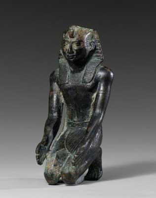 26th Dynasty Bronze Sculpture of Pharaoh Apriès