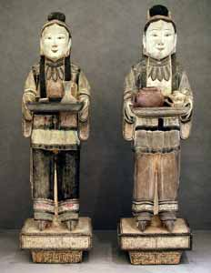 Pair of Ming Painted Stone Attendants