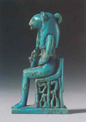 Late Dynastic Period Faience Amulet Depicting Sekhmet Enthroned