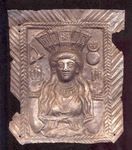 Roman Silver Votive Plaque Depicting a Goddess