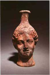 Greek Terracotta Flask in the Form of a Woman's Head