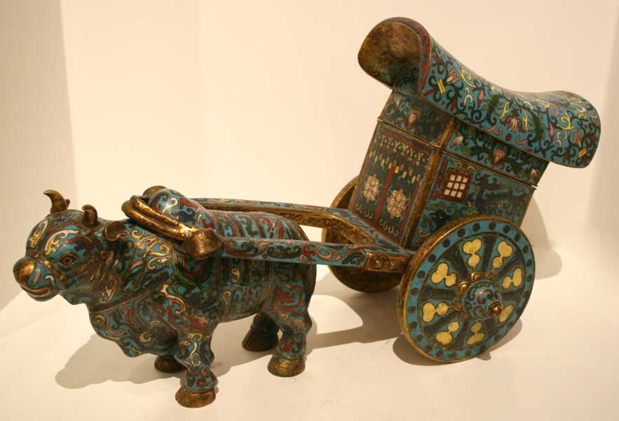Cloisonné Sculpture of an Ox and Cart
