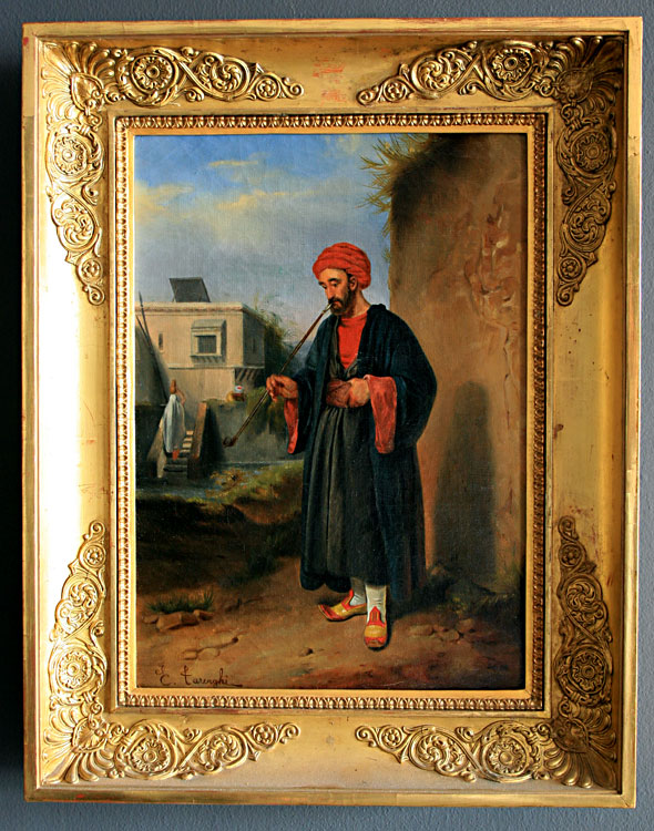 Orientalist Painting of a Pipe Smoker