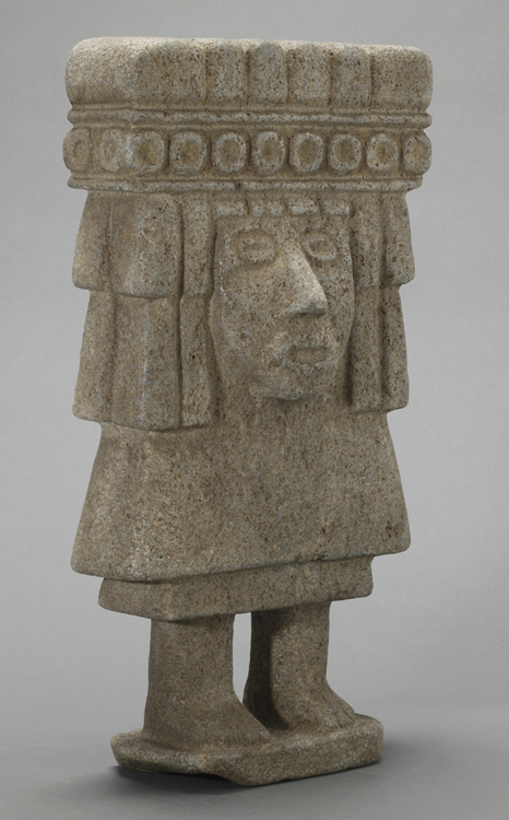 Aztec Stone Figure Wearing an Ornate Headdress