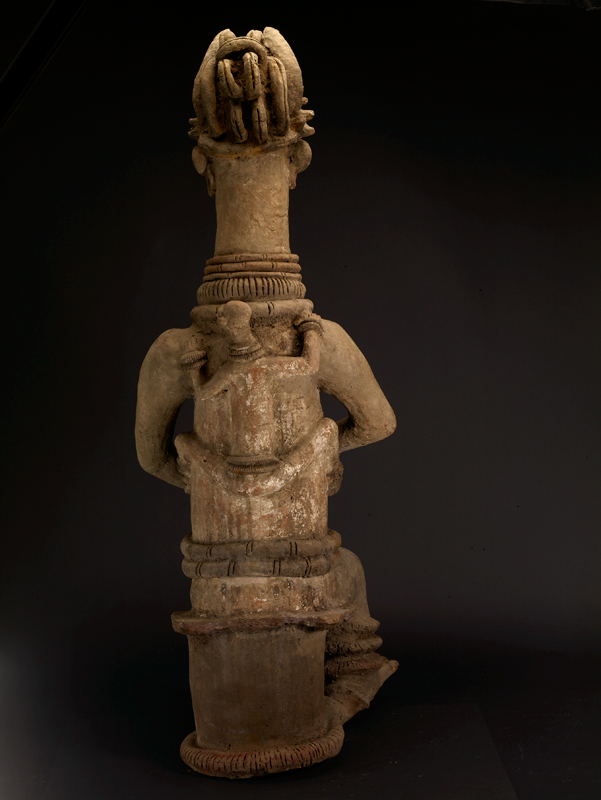 Large Igbo Terracotta Statue of a Seated Mother and Child