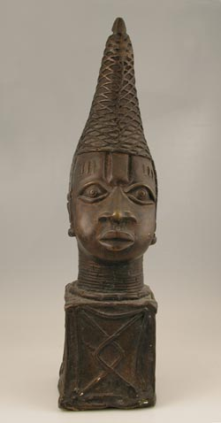 Benin Style Bronze Head of a Mother Queen