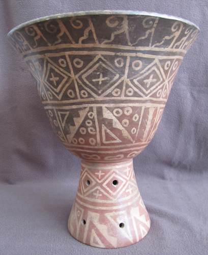 Moche Painted Terracotta Florero Vessel