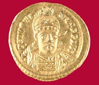 Byzantine Gold Coin of Emperor Justinian I