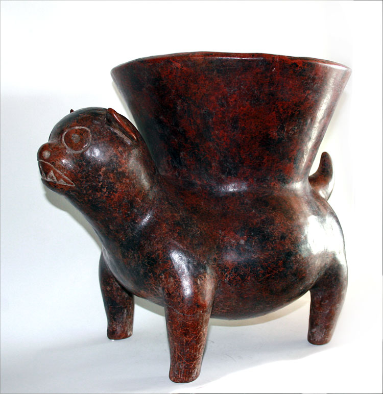 Colima Terracotta Vessel Supported by a Dog