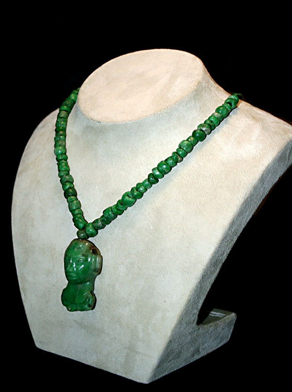 Mayan Jade Beaded  Necklace and Pendant