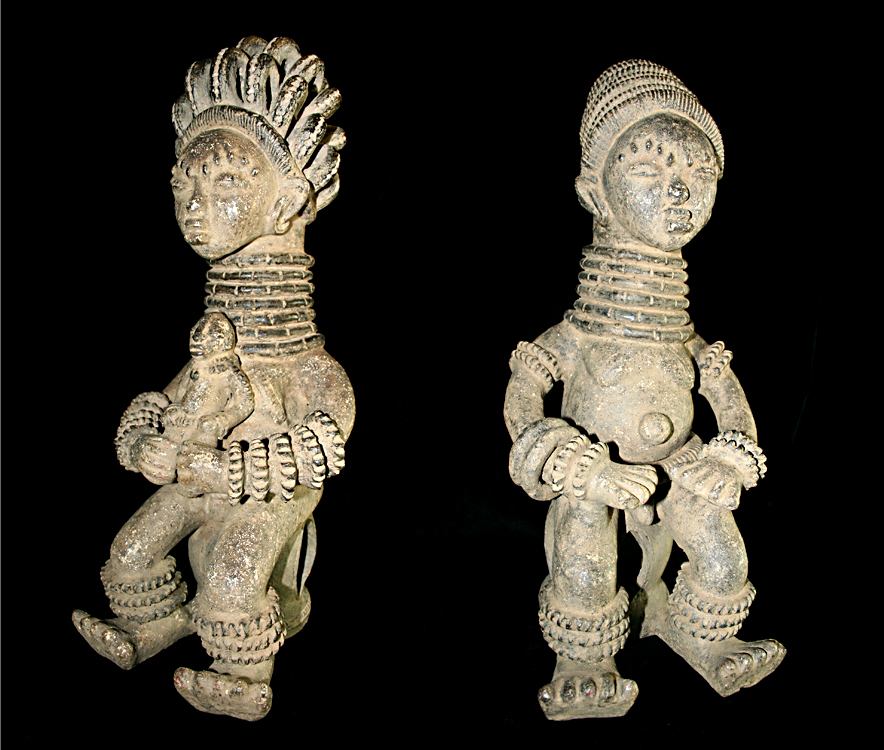 Pair of Igbo Terracotta Seated Figures