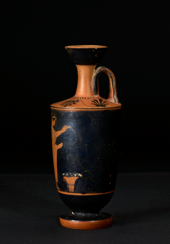 Attic Red-Figured Lekythos Portraying a Grave Ritual
