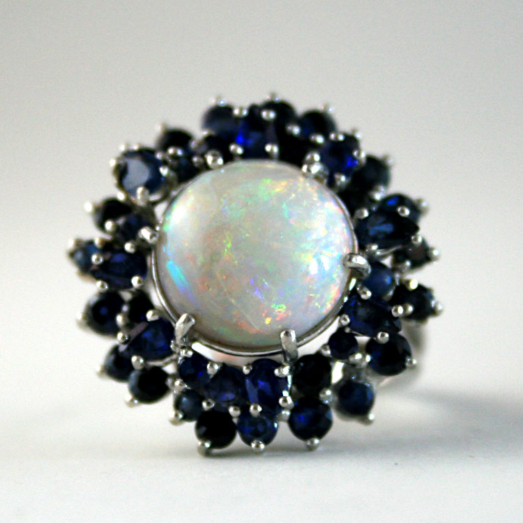 Genuine Opal And Blue Saphire Ring