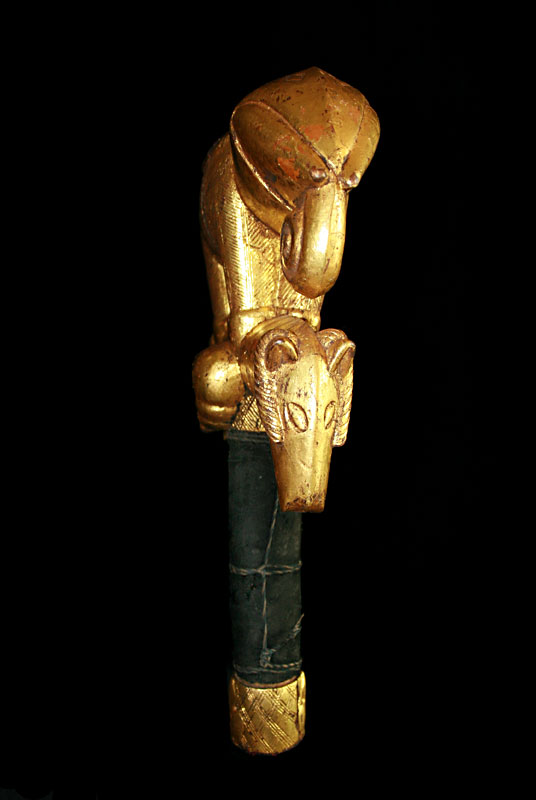 Akan Zoomorphic Gilt-Wood Linguist Staff Finial