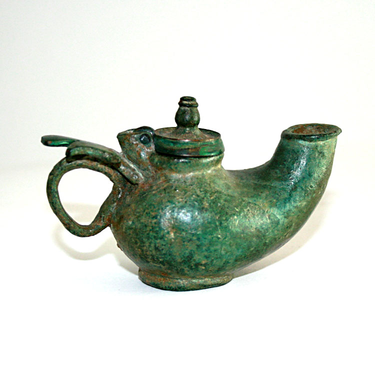 Byzantine Bronze Oil Lamp with a cross handle