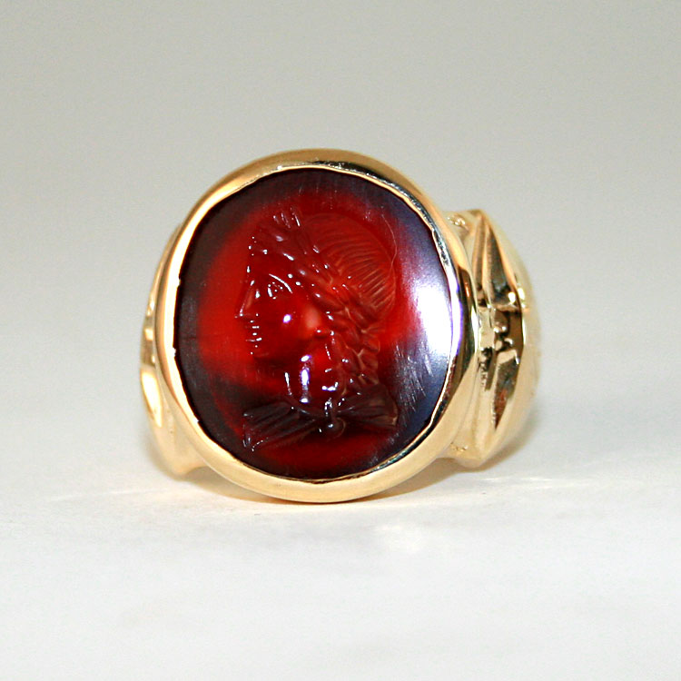 Gold Ring Featuring a Roman Carnelian Intaglio Depicting a Bust of an Emperor
