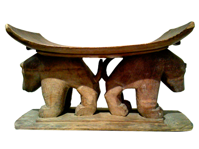 Asante Zoomorphic Stool with a Pair of Hyenas