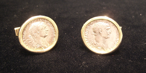 Pair of 18 Karat Gold Cufflinks Featuring Silver Denarii of Emperor Trajan
