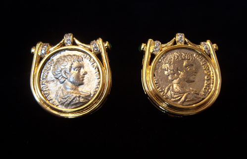 2 Siverb Coins Of Emperor Geta mounted in an 18 karat gold earrings.