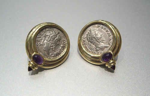 2 Silver Coins Of Emperor Septimius Severus Mounted In 18 Karat Gold Earrings