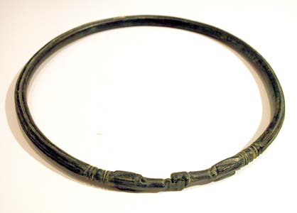 Etruscan Bronze Striated Torque Necklace