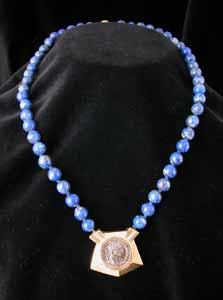 Lapis Bead Necklace with Roman Silver Denarius of Emperor Domitian