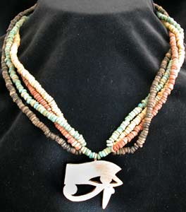 Necklace Of Egyptian Faience Beads And Gold Eye