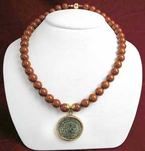 Red Jasper Bead Necklace Featuring a Roman Bronze Coin of Emperor Maximianus