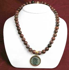 Red Jasper Beaded Necklace Featuring a Roman Bronze Coin of Emperor Maxentius