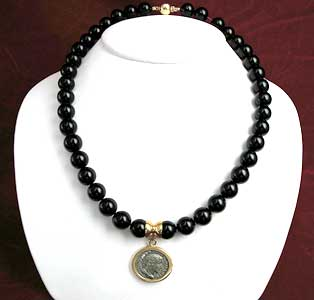 Onyx Beaded Necklace Featuring a Roman Silver Denarius of Emperor Maximinus I