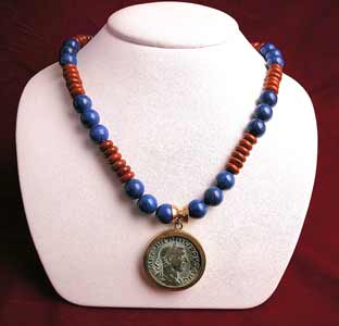 Lapis and Jasper Beaded Necklace Featuring a Roman Bronze Sestertius of Emperor Philip I