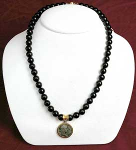 Onyx Bead Necklace Featuring a Roman Silver Denarius of Emperor Hadrian