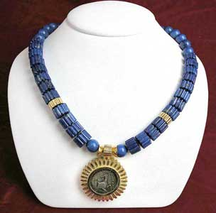 Lapis Lazuli Beaded Necklace Featuring a Silver Coin of the City of Ephesus