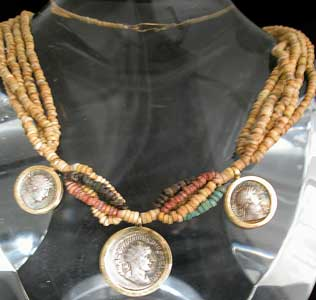 Faience Beaded Necklace Featuring Three Roman Silver Denarii