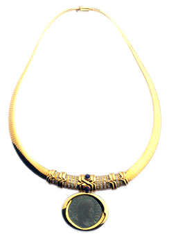 Gold Necklace Featuring a Roman Bronze Sestertius of Emperor Maximinus I