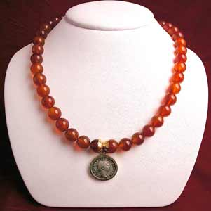 Carnelian Beaded Necklace Featuring a Roman Silver Denarius of Emperor Trajan