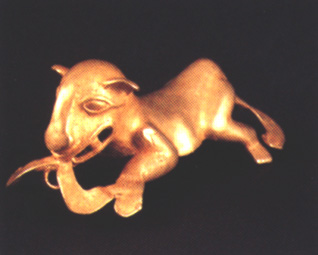 Gold Pendant of a Jaguar Eating a Double-Headed Snake