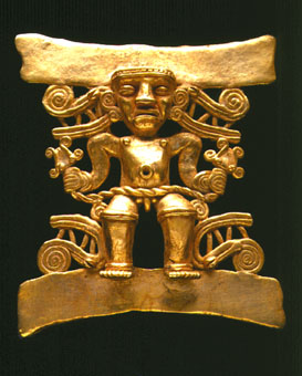 Gold Pendant of a Shaman Holding a Double-Headed Snake