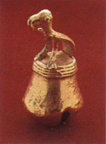 Gold Bell Pendant Featuring a Bird