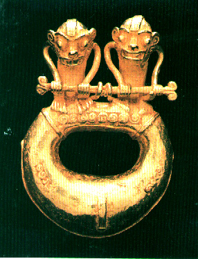 Gold Ring Pendant Featuring Two Monkeys