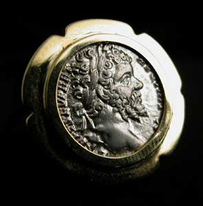 Gold Ring Featuring a Roman Silver Denarius of Emperor Septimius Severus