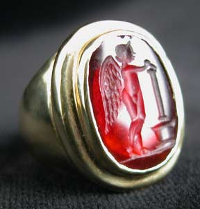 Gold Ring with Classical Revival Carnelian Intaglio of Cupid