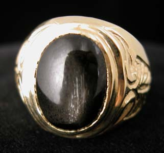 Gold Ring with Cabochon Black Cross Star Sapphire