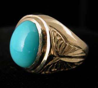 Gold Ring with Oval-Shaped Turquoise