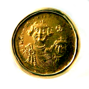 Gold Ring Featuring a Byzantine Gold Coin of Emperor Heraclius
